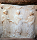 Turkey Ephesus the Three Graces on a plaque found in one of the Roman villas