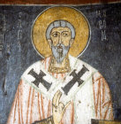 Turkey, St Jason, 12th century wall painting in the rock cut monastery of Eski Gumus