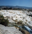 Turkey Hierapolis present day Pamukkale calcium carbonate formations deposited by the hot spring waters