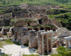 Turkey Ephesus view of the Roman villa over a section of the Scholastikia Baths both dating from the 2nd century AD