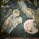 St Michael with symbols of Matthew and Luke, twelfth century, rock-cut church in the monastery of Eski Gumus, near Nigde, Cappadocia, Turkey