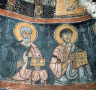 St John and St Luke, mural in the rock-cut monastery of Eski Gumus (Old Silver) in Cappadocia Turkey 12thC