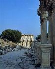 Turkey Ephesus the Celcus Library beyond Hadrians Temple at the end of the Street of the Curetes