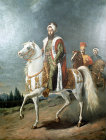 Selim III, 1789-1807,  on horseback, painted by Hippolite Berteaux, Topkapi Palace Museum, Istanbul, Turkey