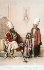 Group of Turkish men, nineteenth century painting by Arif Pasa, Istanbul, Turkey