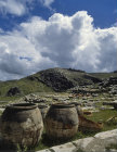 Storage jars in the Great Temple of late bronze age Hittite capital, Hattusas, Bogazkoy, Turkey