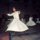 Whirling dervishes, the Melevi from Konya, performing the whirling ceremony or Sama, Turkey