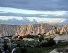 Cones in early morning sunlight, Cappadocia, Turkey