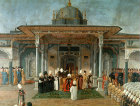 Sultan Selim III granting an audience at the Gate of Felicity, 18th century painting in the Topkapi Palace Museum, Istanbul, Turkey