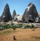 Farmer in wheat field amongst cone dwellings of Cappadocia, Turkey