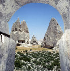 Vineyards among cone dwellings, Cappadocia, Turkey