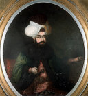 Sultan Ibrahim,  1640-1648, insane and extravagant sultan, murdered on 18th August 1648, portrait in the Topkapi Palace Museum, Istanbul, Turkey