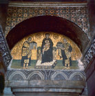 Turkey Istanbul Hagia Sophia mosaic of the Blessed Virgin Mary between Justinian and Constantine over the south portal