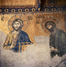 Turkey Istanbul Christ and John the Baptist 12th century mosaic in Hagia Sophia (from the Deesis)