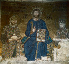 Turkey Istanbul Hagia Sophia detail of the Mosaic of Christ Constantine IX  and Empress Zoe