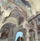 Christ Pantocrator and saints, circa 700 AD, Chapel 33, Kiliclar Kusluk, Goreme, Cappadocia, Turkey
