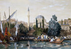 Turkey, Tophane Mosque and entrance to Pera 1840 engraving by Thomas Allom painted by Laura Lushington