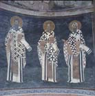 St Basil, St Gregory the Theologian, St Cyril of Alexandria, 14th century wall painting, Kariye Camii, Istanbul, Turkey