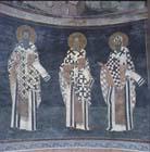 St Basil, St Gregory the Theologian, St Cyril of Alexandria, 14th century wall painting, Kariye Camii, Istanbul, Turkey