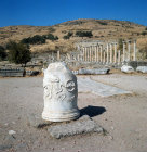 Turkey Pergamon the Asclepium  remains of a pillar with a relief of a snake