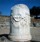 Turkey Pergamon in the Asclepium remains of a pillar with a relief of a snake