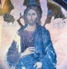 Turkey Istanbul Kariye Camii mosaic of Christ detail from the Deeisis 14th century Byzantine mosaic