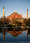 Turkey Istanbul Hagia Sophia reflected in pool
