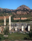 Turkey, Sardis, Temple of Artemis dating from 150 AD but capital on left dates from 175BC