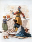 Turkish women making bread, 1821, Istanbul, Turkey