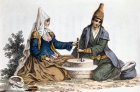 Turkey, grinding corn, miniature 1822AD
