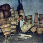 Man weaving baskets for tea and hazel nuts, Turkey