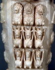 Artemis, second century, detail of lions, goats and griffons carved on lower half of sculpture now in Selcuk Museum, Ephesus, Turkey