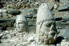 Zeus and Apollo, sculpted heads in stone, circa 50 BC, east side of Nemrud Dag tomb sanctuary, south eastern Turkey