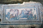 Turkey Ephesus Roman Mosaic of Amphitrite and Triton situated in the Peristyle Courtyard of one of the villas