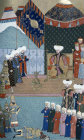Soldiers of Murad II kill Miko, 16th century miniature from ms H.1523 p 143B, Book of Accomplishments, Topkapi Palace Museum, Istanbul, Turkey