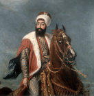 Sultan Mahmud II,1808-1835, detail of portrait painted by Hippolite Berteaux, in the Topkapi Museum Istanbul, Turkey