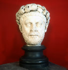 Diocletian, Roman Emperor from 284 to 305 AD, sculpted head found at Izmit, Archaeological Museum Istanbul