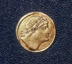 Constantine I, Roman Emperor from 306 to 337 AD, gold coin, Archaeological Museum, Istanbul, Turkey