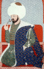 "Mehmed I, portrait from sixteenth century manuscript, H 1563, ""The Genealogy of the Ottoman Sultans"", Topkapi Palace Museum, Istanbul, Turkey"