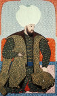 "Beyazid II, portrait from sixteeth century manuscript, H 1563, ""The Genealogy of the Ottoman Sultans"", Topkapi Palace Museum, Istanbul, Turkey"