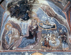 Turkey, Cappadocia, the Nativity 1200-1210 AD, mural in the rock-cut Church of Karanlik Kilise in the Goreme Valley