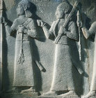 Relief of  procession of officers, from Carchemish eighth century BC, now in Hittite Museum, Ankara, Turkey
