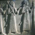 Assyrian style officers in procession, relief sculpture, 8th century BC, from Carchemish, now in Ankara Museum, Turkey
