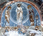 Turkey, Cappadocia, the Transfiguration, 1200-1210 AD mural in the rock-cut Church of Karanlik Kilise in the Goreme Valley