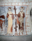 Turkey, Cappadocia, Emperor Constantine and Empress Helena, Byzantine mural in Yilan Kilise, the Serpent Church in the Goreme Valley