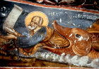 Jonah and the whale, seventeenth century painting on outer wall of church of Sumela Monastery  near Trabzon, Turkey