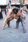 Turkey, gypsy wrestling with his bear