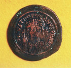 Justinian I, Byzantine Emperor from 483 to 565, coin found at Kekova, south west Turkey