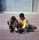Turkey, Istanbul, gypsy boy giving his bear a drink of milk