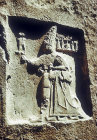 God Sharruma holding King Tudhaliya IV (1250-1220 BC), Hittite sanctuary, Yazilikaya, Turkey
